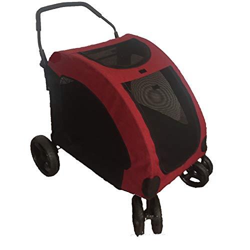 Liapianyun Hundebuggy Hundewagen Faltbare, Haustier Buggy Hundekinderwagen Für Mittelgroße Und Große Hunde 4 Räder,Rot
