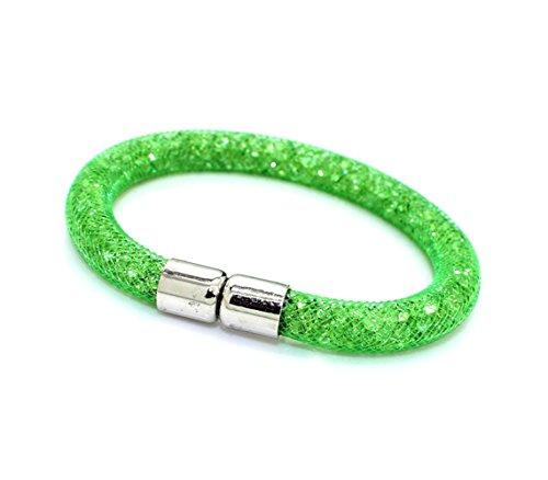 mws Bracciale 20 cm Color Stones effetto 3D brillante chiusura magnetica (Verde)