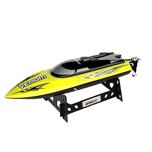 UDI001 Venom Remote Control Boat: for Pool & Outdoor Use– RC Racing Boat with Remote Control; Force1 High-Speed Series RC Boats for Adults & Kids + Bonus Battery (Limited Edition Yellow)