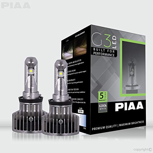 PIAA 26-17411 G3 H11 LED Bulb (6200K 12/24V 23W Twin Pack)