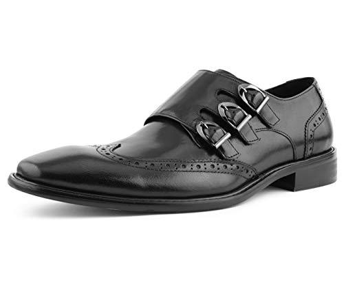 Asher Green AG119 - Men's Dress Shoes, Formal Mens Shoes - Genuine Leather Shoes for Men - Men's Wingtips - Triple Monk Strap Mens Shoes - Color: Black, Size: 10