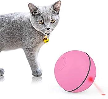 Mitening Balle Lumineuse pour Chat Jouet Boule Rotative Automatique à 360 Degrés avec Lumière LED et Rechargeable USB, Interactif Jouets pour Animaux de Compagnie Chats Chiens (Rose)