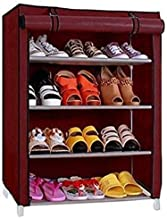 BUCKETLIST® Multipurpose Portable Folding Shoe Rack 4/5 Shelves Organizer with Cover, Metal Frame Plastic Connectors, Home Furniture (Maroon)