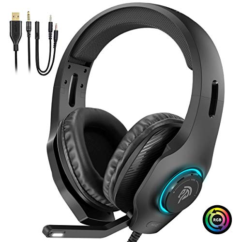 [Newest 2019] Gaming Headset for Xbox One S, X, PS4, PC with Soft Breathing Earmuffs, Adjustable Mic, Comfortable Mute & Automatic Cycling RGB LED Lights, Stereo Headphone for Laptop, Nintendo Switch