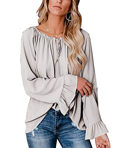 Hownew-X Damen Bluse Elegant Chiffon V-Ausschnitt Langarm Casual Oberteil Lose Langarmshirt V-Ausschnitt Vintage Tunika Hemd T-Shirt (M, Z-grau1)