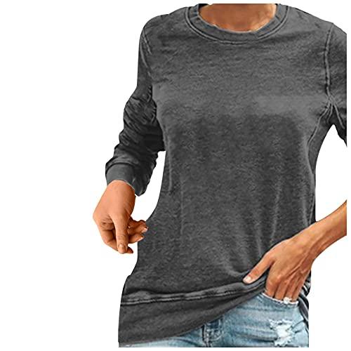 FMYONF Camiseta de manga larga para mujer con impresión de cuello redondo y estampado sexy, gris, XXXL
