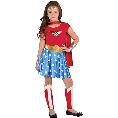 Costumes USA Wonder Woman Halloween Costume for Girls, Large, Includes Dress, Cape, Headband, Leg Warmers, and More