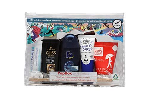 PopBox by Flightbox - Pour Hommes - Trousse de toilette avion complète pour le voyage