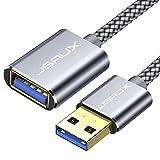 JSAUX Cable Alargador USB 3.0 [3M] Tipo A Macho a Hembra Extensor para Conexión Entre PC, TV y Periféricos como Impresora, Ratón, Teclado, Hub, Pendrive, Xbox, Impresoras, ratón y Otros-Gris