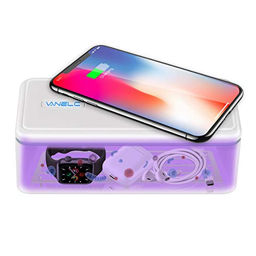 VANELC UV Light Sanitizer Box, UVC Phone Sanitizer And Charger, Multi-Purpose Germ Sanitizer for Cell Phone, Makeup Tools, Toothbrush, Smart Watch, Keys, Remotes & high-Touch Objects