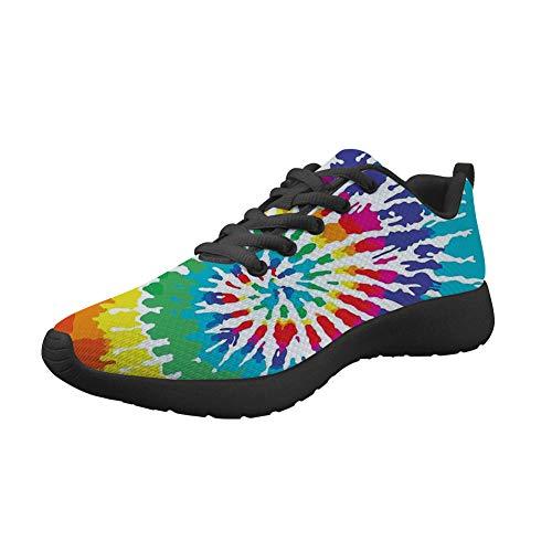 Woisttop Colorful Tie Dye All Seasons Running Flat Shoes for Women Sports Walking Sneakers