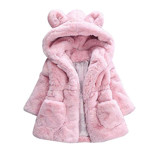 Babykleidung,Sannysis Baby Mädchen Herbst Winter Kapuzenmantel Umhangjacke Dicke warme Kleidung 1-4Jahre (120, Rosa)