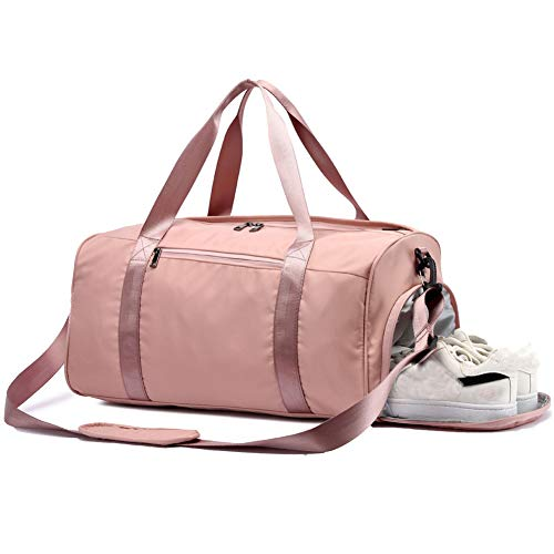 Women Gym Bag with Shoe Compartment,Light Weight Weekender Bag Travel Duffel Bag Sports Swim Bags Overnight Bag for Women (Pink)