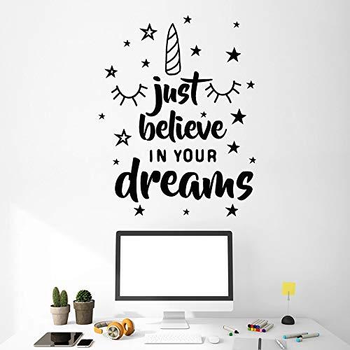 HFDHFH Calcomanías de Pared de Pegasus Solo cree en Tus sueños Cita Pegatinas de Vinilo de Arte para habitación de Adolescentes Mural Motivacional