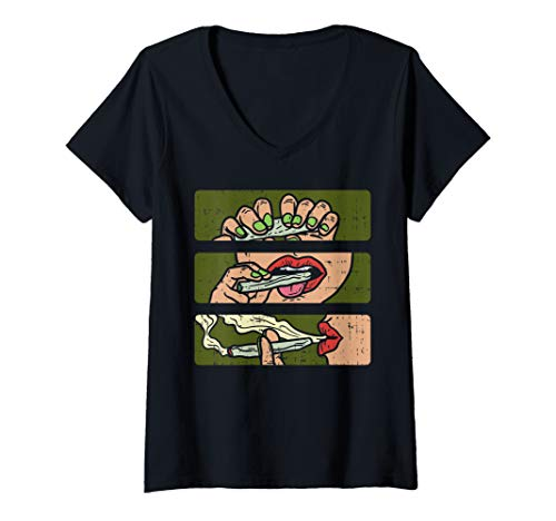 Damen Rolling Weed Joint Smoking 420 THC Pot Smoker Women Gift T-Shirt mit V-Ausschnitt