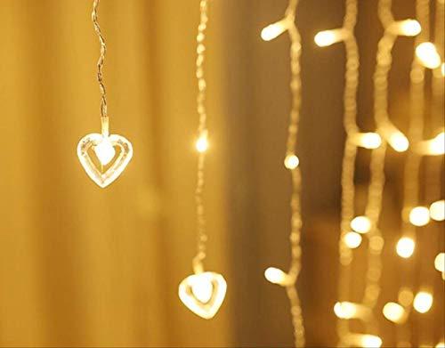 Tira LED con forma de corazón y corazón, 2 x 1,5 m, con 8 modos, para bodas, fiestas, jardín, decoración, 220 V, enchufe europeo