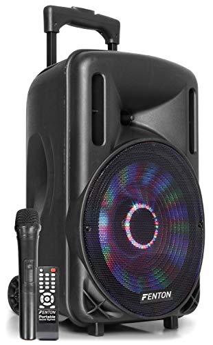 Fenton FT10LED - 10 Inch Mobiele Speaker op wielen 450 Watt met Ingebouwde Accu en LED Verlichting - voorzien van Draadloze Microfoon, Bluetooth, USB/SD MP3 Speler, Afstandsbediening