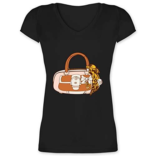 Typisch Frauen - Handtasche mit Tuch - S - Schwarz - T-Shirt - XO1525 - Damen T-Shirt mit V-Ausschnitt