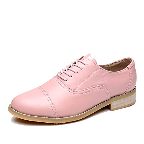 Genuine Leather Big Woman Flats Shoes Round Toe Silver Oxford Shoes with Fur Pink 6.5