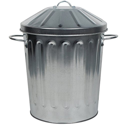 CrazyGadget Small Medium Large Extra Large Galvanised Steel Metal Dustbin Kitchen House Garden Storage Unit Bin (15L)