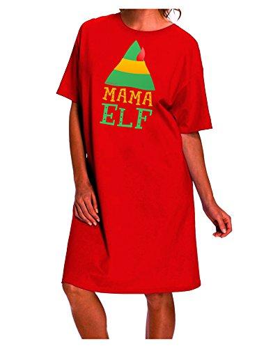 TOOLOUD Matching Christmas Design - Elf Family - Mama Elf Dark Night Shirt Dress - Red - One Size