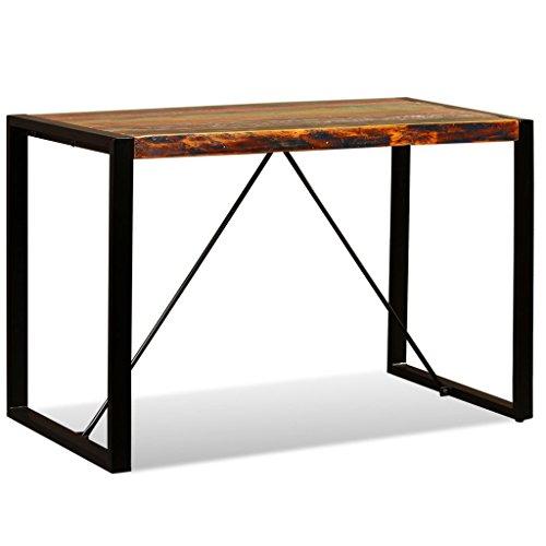 Festnight Esszimmertisch Esstisch aus Recyceltes Massivholz Tisch mit Stahlbeine Küchentisch 120 x 60 x 76 cm