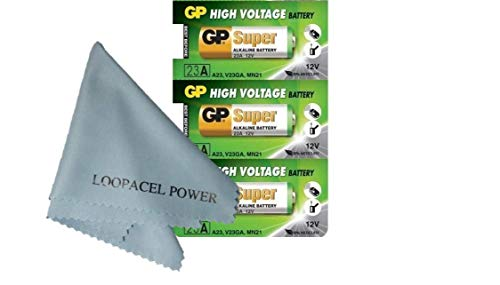 My Battery Supplier 3 Pack of GP23AE GP 23A MN21 A23 V23GA VR22 12 Volt Batteries with Cloth