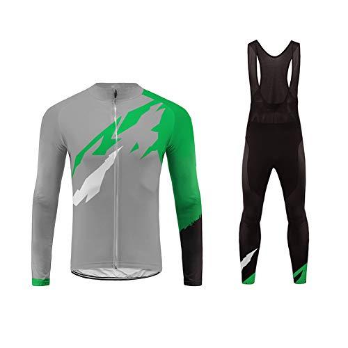 Sports Wear Ropa Hombre Invierno Conjunto de Ropa de Ciclismo - Jersey de Manga Larga y Zip Completo+ Pantalones Largos Cómodo Respirable Secado Rápido