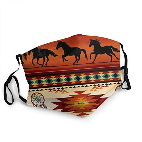 Protective Face Mask,Western Horses Native American Safety Masks Outdoor Washable Reusable Dust Mouth Cover Adjustable Face Scarf With Elastic Strap