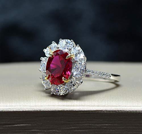 Anillos de Boda de Piedras Preciosas de Diamantes de Laboratorio de rubí de Plata de Ley 925 Anillos de Compromiso para Mujeres joyería Fina