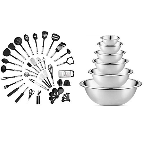 Klee Deluxe 42-Piece Stainless Steel and Nylon Kitchen Utensil Set & Klee 6-Piece Premium Stainless Steel Mixing Bowls,