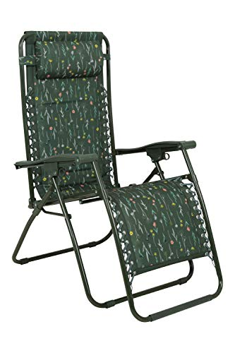 Mountain Warehouse Reclining Garden Sun Lounger Chair – Adjustable Padded Head Cushion Khaki