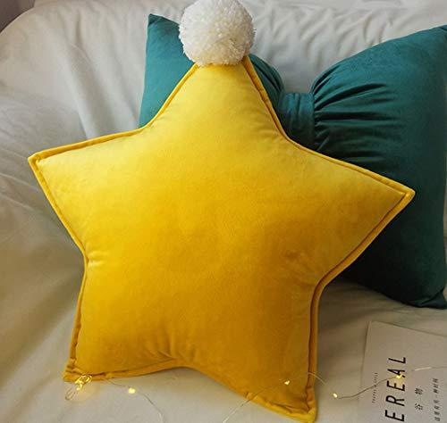桜の雪 かわいい ポンポン付き 五角星 抱き枕 とりはなす可能 寝枕 添い寝 ふわふわ クッション インテリア飾り 誕生日 プレゼント (イエロー)