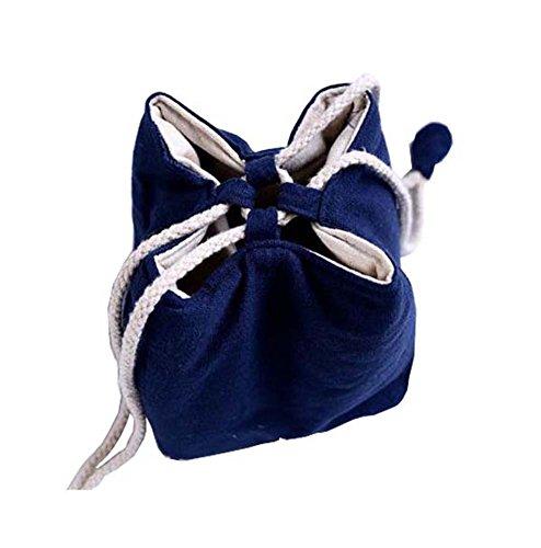 Black Temptation Sac de Cordon de Toile de Jute, Petit Goodie, Bijoux, Grain de café, Bonbons, Sac de Rangement de thé(Bleu)