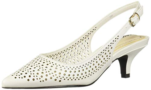 Easy Street Women's Enchant Slingback Dress Pump on Kitten Heel Shoe, White, 10 N US