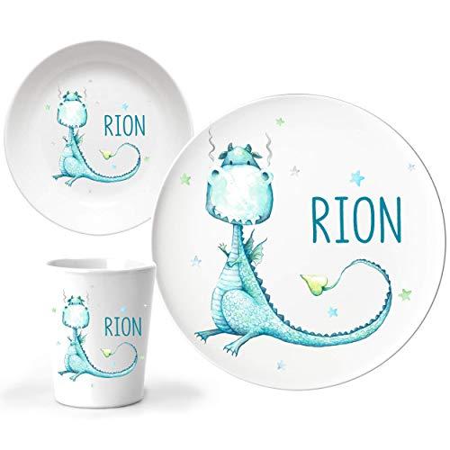 JUNALOO 3-teiliges Kindergeschirr Set mit Namen Taufgeschenk für Jungen Personalisiert - Blauer Drache Kinderteller Dino Teller Set Geschenk zur Geburt