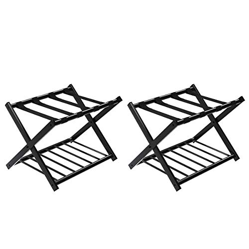 Tangkula Luggage Rack (Set of 2), Folding Metal Suitcase Luggage Stand, Double Tiers Luggage Holder with Shoe Shelf, Luggage Stand for Bedroom, Guest Room, Hotel