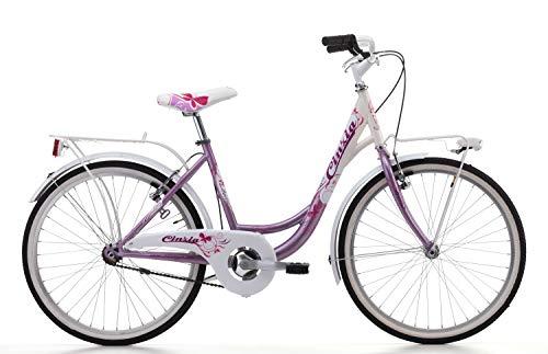 Cicli Cinzia Bicicletta 24' Citybike Liberty per Bimba, Senza Cambio, V-Brake Alluminio, Rosa Perla/Bianco