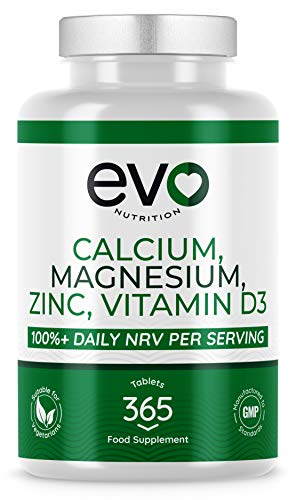 365 Tablets | Calcium, Magnesium, Zinc, Vitamin D3 and Selenium | Vegetarian | High Strength Supplement | 100%+ Daily NRV Of Each Active Ingredient