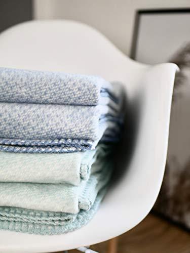 RIEMA® kuschelige Bio-Baumwolldecke Emma - Oeko-TEX I Made in Germany aus 100% Bio-Baumwolle (KBA) 200x150cm I stylishes Wohnaccessoire in der Farbe: blau