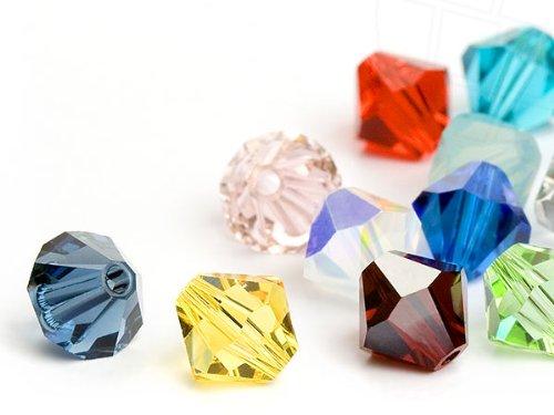 Glasperlen zum Auffädeln von Swarovski Elements Doppelkegel  4mm   (Colormix, RESTPOSTEN), 96 Stück