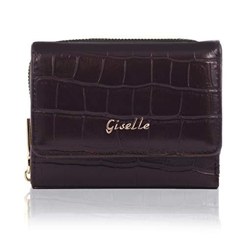 GISELLE 財布 三つ折り財布 ミニ財布 レディース コンパクト 小さい ミニウォレット 小銭入れ カード入れ 大容量 シンプル フォーマル 3つ折り クロコ風型押し (アーモンドブラウン)