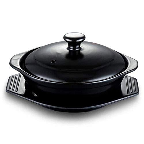 JJLL Koreanische Steinschale (Dolsot), Sizzling Hot Pot for Bibimbap und Suppe - Premium Keramik (groß mit Deckel) (Size : L)