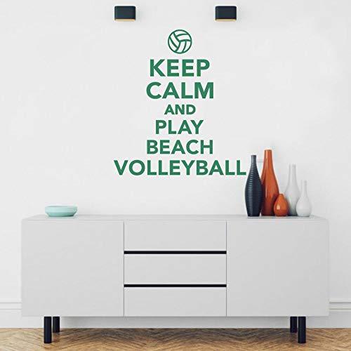 AGjDF Bleiben Sie ruhig und Spielen Sie Beachvolleyball Wandaufkleber Volleyball Sportaufkleber Junge Raumdekoration57x51cm