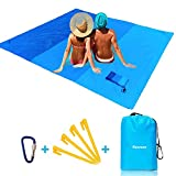 """Reorzon Sand Free Beach Mat, Portable Waterproof Lightweight Beach Blanket Picnic Blanket 82"""" x 79"""" with 4 Fixed Nails, Reinforced Edging Pocket Picnic mat for Beach, Outdoor Garden Camping, Hiking"""
