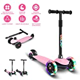 Scooter for Kids Toddlers Scooters 3 Wheels Kick Scooter Lean to Steer with PU Flashing Wheels Scooters for Boys Girls Children from 2 to 5 Year Old (Pink)