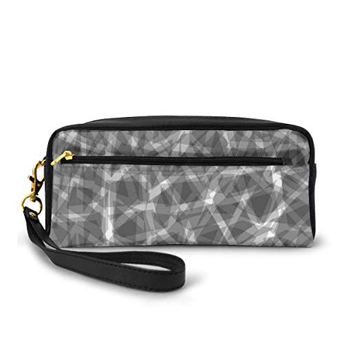 Pencil Case Pen Bag Pouch Stationary,Trippy Grunge Haze Digital Display with Fractal Pieces Parts Lines Contemporary Bents,Small Makeup Bag Coin Purse