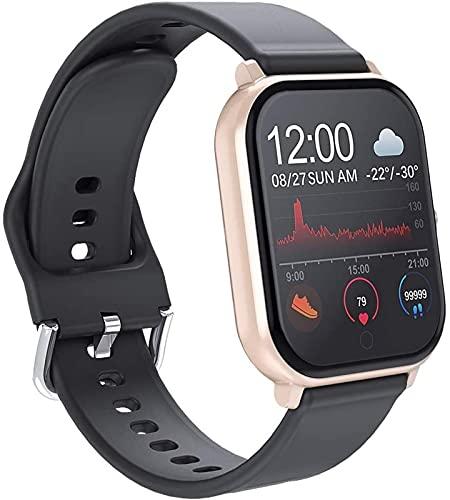 TCHENG Smart Watch Presión Arterial Monitor de Ritmo cardíaco Monitor de Hombres y Mujeres Deportes de sueño Reloj a Prueba de Agua Pedómetro Multifuncional Reloj de Pareja electrónica (Color : Gold)