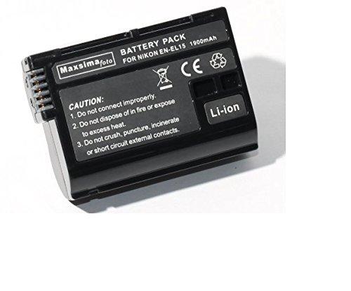 Maxsimafoto - ENEL15, EN-EL15 batería de 1900mAh Totalmente Compatible para Nikon D600, D610, D800, D810, D7000, D7100, D7200 Nikon 1 V1, decodificado.