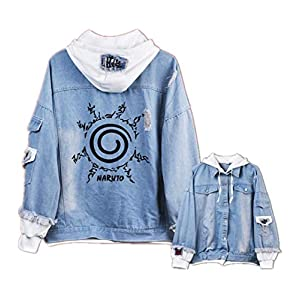 GO2COSY Anime Naruto Cosplay Uchiha Sasuke Jacket Sweatshirt Denim Fleeces Costume Hoodie